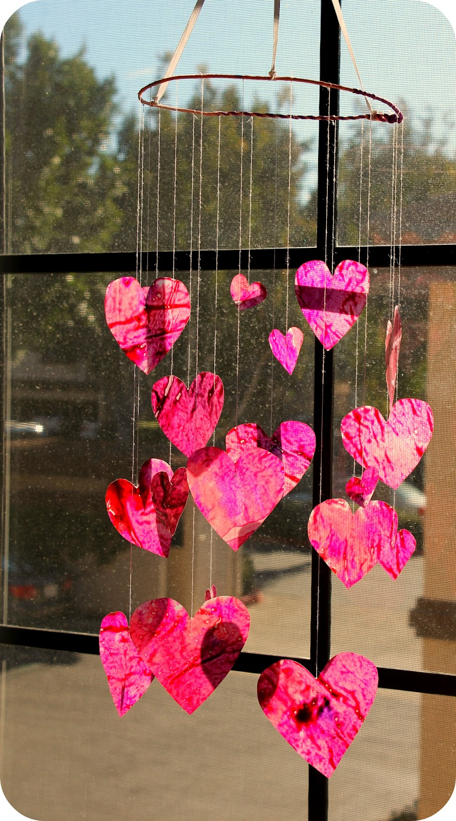 DiY Project: Crayon Waxed Paper Stained Glass Heart Mobile